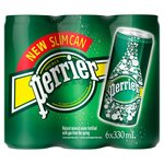 Perrier Sparkling Mineral Water 6 x 330ml Slimline Cans