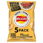 Walkers Gourmet Burger Kitchen Classic Cheeseburger Crisps 5X25g