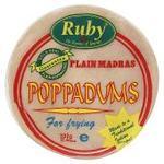 Ruby Plain Madras Poppadums 200g Ready to Fry