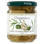 Organico Organic Garlic Stuffed Green Olives 190g