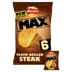 Walkers Max Flame Grilled Steak Crisps 6 x 27g