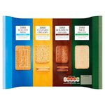 Tesco Four Pack Biscuits Bourbon Creams Custard Creams Nice and Malted Milk 700g