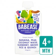 Babease Organic Banana Pear Coconut Water Blueberry Brown Rice and Quinoa 100g