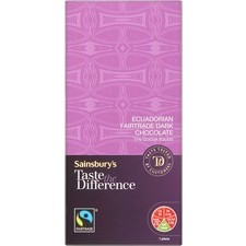 Sainsburys Equador Dark Chocolate Taste the Difference 100g