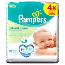 Pampers Natural Clean Fragrance Free Baby Wipes 4x64