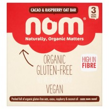 Nom Cacao and Raspberry Organic Oat Bar 3 x 52g