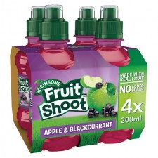 Robinsons Fruit Shoot No Added Sugar Apple and Blackcurrant 4 x 200ml