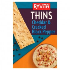 Ryvita Thins Cheddar And Cracked Black Pepper 125g