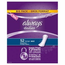 Always Large Breathable Liners Scented Economy Liners 52 per pack