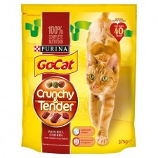 Go-Cat Crunchy and Tender Cat Food Beef 375g