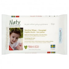Naty Eco Baby Wipes Unscented 56 per pack