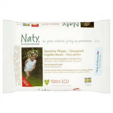 Naty Eco Travel Baby Wipes Unscented 20 per pack