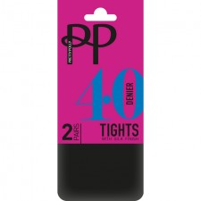 Pretty Polly 40 Denier Opaque Tights Black S-M