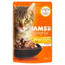Iams Delights Chicken And Turkey in Gravy Pouch 85g