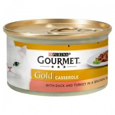 Gourmet Gold Cat Food Casserole Duck and Turkey in Brown Sauce 85g