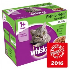 Whiskas Pouches Fish and Meat Jelly 12 x 100g