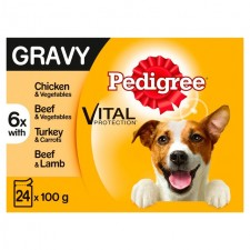 Pedigree Pouches Meat Selection in Gravy 24 x 100g