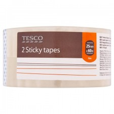 Tesco Clear Easy Tear Sticky Tape 25mm x 60m 2 Pack
