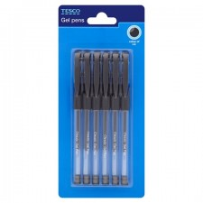 Tesco Classic Gel Pens Black 6 Pack