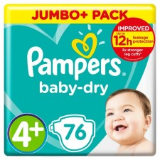 Pampers Baby Dry Nappies Size 4+ x 76