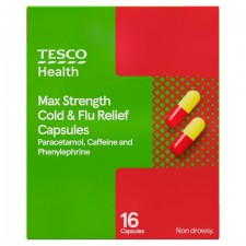 Tesco Max Strength Cold And Flu 16 Capsules