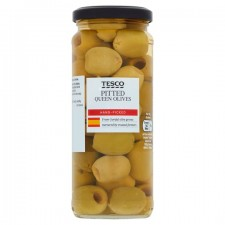 Tesco Pitted Queen Green Olives in Brine 340G