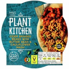 Marks and Spencer Plant Kitchen Vegan Cider Braised Beans with Butter Beans and Cauliflower Mash 300g