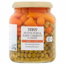 Tesco Petit Pois And Baby Carrots 340g Jar