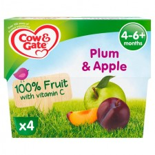 Cow And Gate 4 Months Plum And Apple Pots 4 X 100G