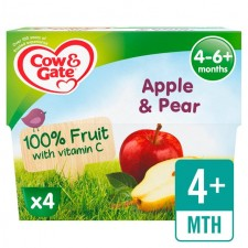 Cow And Gate 4 Months Apple And Pear Pots 4X100g