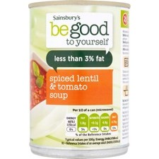 Sainsburys Be Good To Yourself Spicy Tomato and Lentil Soup 400g