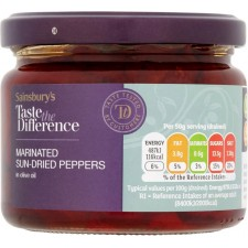 Sainsburys Taste the Difference Marinated Sun Dried Peppers in Olive Oil 290g