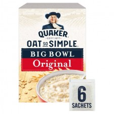 Quaker Oat So Simple Big Bowl Original 385g 6 Sachets