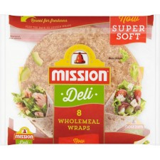 Mission Deli Wholemeal Tortilla Wraps 8 Pack