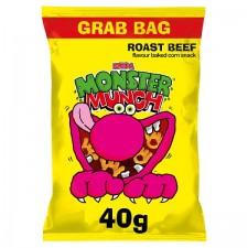 Retail Pack Walkers Mega Monster Munch Grab Pack Roast Beef 30 x 40g Box