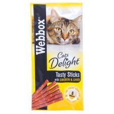 Webbox Cats Delight Chicken and Liver Tasty Sticks 6 Pack
