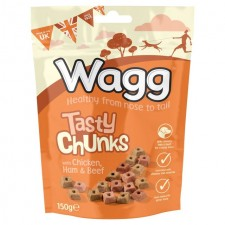 Wagg Tasty Chunks Chicken Ham And Beef Treats 150G