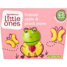 Sainsburys Little Ones Organic Apple and Peach Puree 4mth+ 4x100g