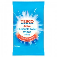 Tesco Toilet Wipes 40 Pack Blue Fresh