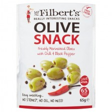 Mr Filberts Olive Snack Pitted Green Olives with Chilli and Black Pepper 65g