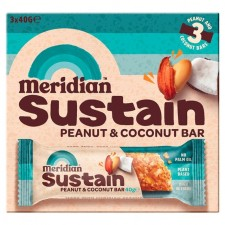 Meridian Sustain Peanut and Coconut Bar 3 x 40g pack