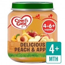 Cow And Gate 4 Months Delicious Peach and Apple Jar 125g