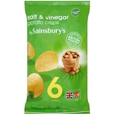 Sainsburys Crisps Salt and Vinegar 6x25g