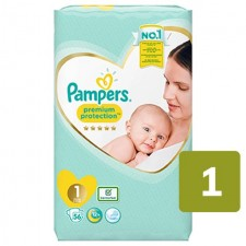 Pampers Premium Protection Nappies Size 1 Newborn x 56