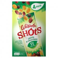 Whitworths Raisins and Chocolate Shots Multipack 4 per pack