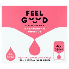 Feel Good Raspberry and Hibiscus fruitful sparkling water 4 x 330ml