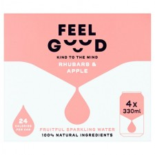Feel Good Rhubarb and Apple sparkling fruitful water 4 x 330ml