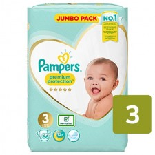 Pampers Premium Protection Nappies Size 3 x 66