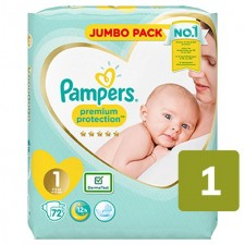 Pampers Premium Protection Nappies Size 1 x 72