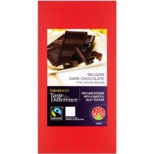 Sainsburys Belgian Fairtrade Dark Chocolate Taste the Difference 100g
